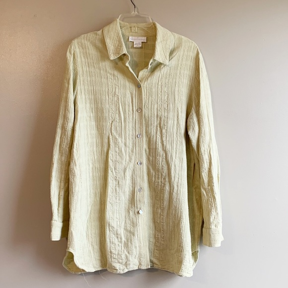 Soft Surroundings Green Textured Button Down Top